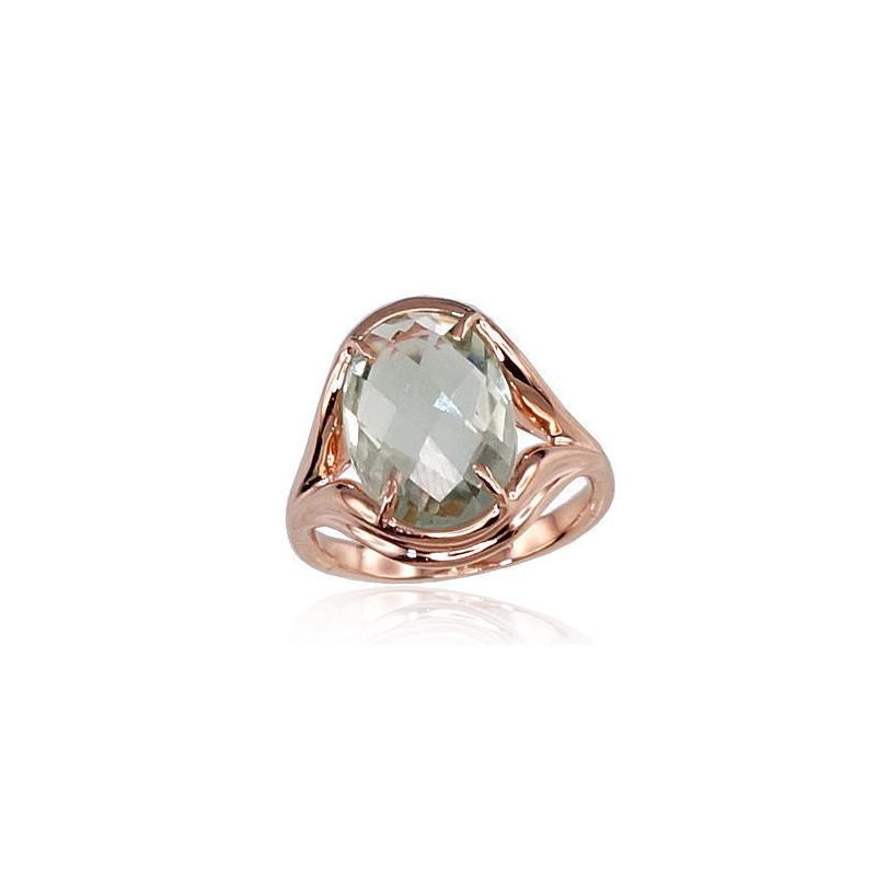 Auksinis žiedas 1100113(Au-R)_AMG, Raudonas Auksas585°, Žalias Ametistas