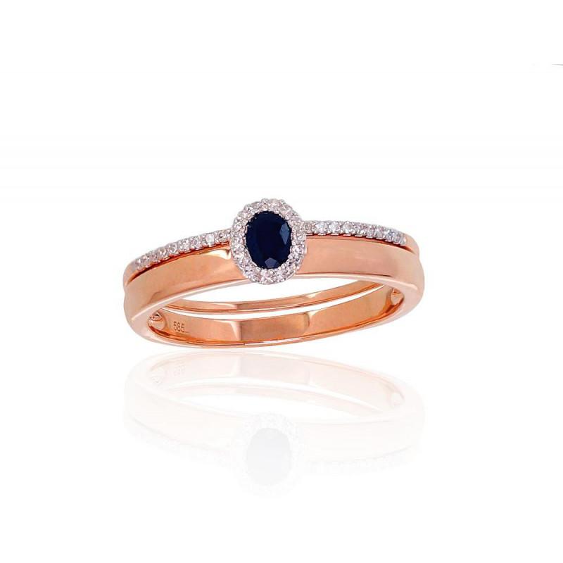 Auksinis žiedas 1100904(Au-R+PRh-W)_DI+SA, Raudonas Auksas585°, rodis (padengti) , Briliantai , Safyras